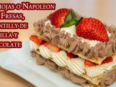Milhojas o Napoleon con Fresas Chantilly de Vainilla y Chocolate