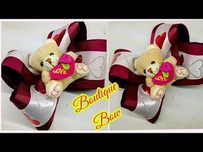MOÑO BOUTIQUE CON OSITOS DE PELUCHE. como hacer lazos. how to make bows.laços. día del amor.valentin