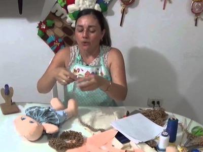 MUÑECA DE  TRAPO CABEZA Y CABELLO PARTE 10