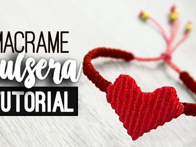 Pulsera con corazón » ❤️ tutorial | como hacer | diy ● Friendship bracelet #104