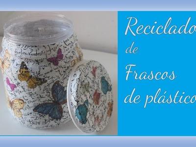 Reciclado de frascos de plástico con decoupage - Regalo para San Valentín - DIY - Tutorial