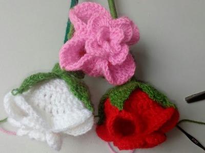 Rosas en capullo tipo Tulipán a crochet