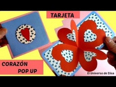 Tarjeta para San Valentín, Tarjeta Sorpresa para San Valentin, Tarjeta Corazón Pop Up