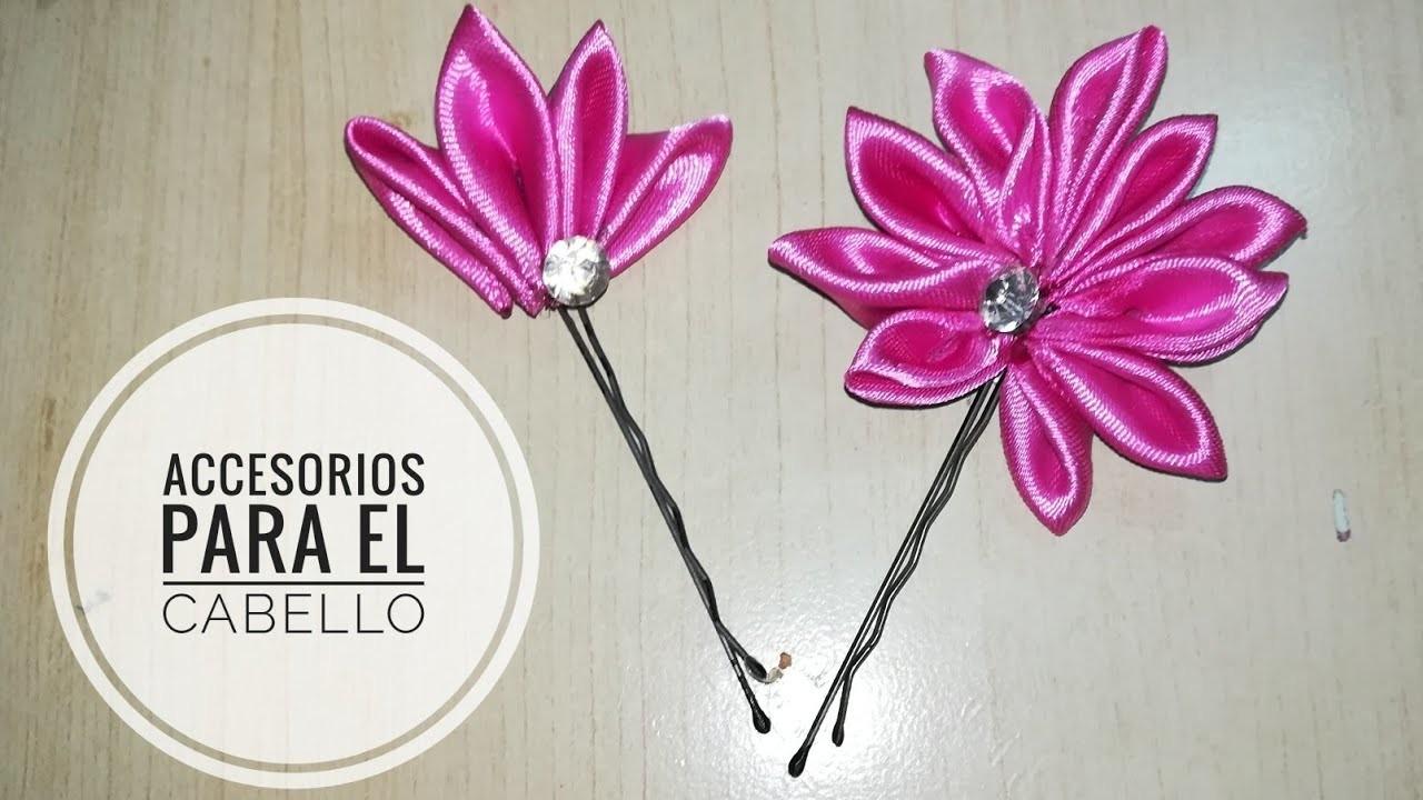 """Accesorios para el cabello con cinta de tela """"Flowers hair pins"""""""