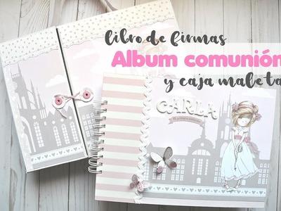 Álbum y libro de firmas de comunión niña + caja maleta   Scrapeando con Rocío