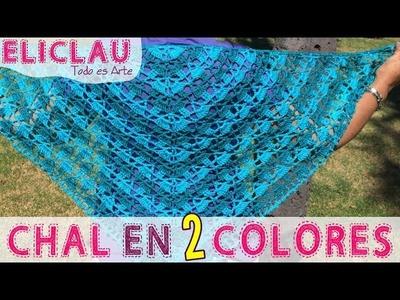 Chal en 2 colores y Esquema de puntos | Chal en 2 colores y Esquema | EliClau