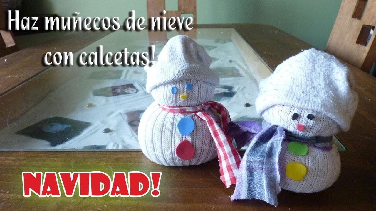 Como hacer unos Muñecos de Nieve con Calcetas