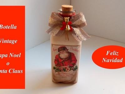 DIY: Botella  Decorada, Papa Noel. Decoupage  con fotocopia común.