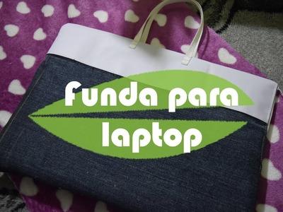 DIY funda para laptop con mezclilla.reciclar lona y mezclilla