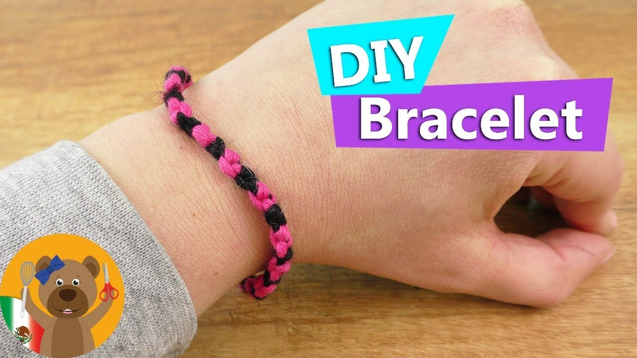 DIY manilla Aprende a hacer manillas de amistad   muy fácil en negro y rosa DIY joyas