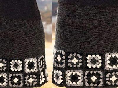 Falda con Square  Tejido en Crochet