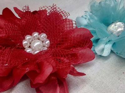 Flores de tela fáciles de hacer. Flores para tiaras y diademas