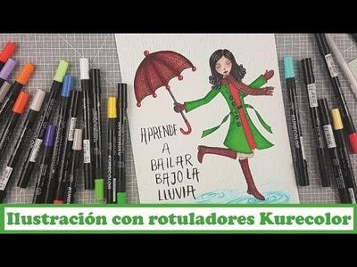 Ilustración con rotuladores Kurecolor y algunos tips, con La tienda de las manualidades