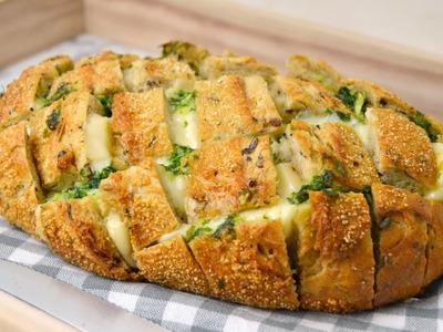 Pan relleno de queso, ajo y perejil ¡Delicioso y muy fácil de preparar!