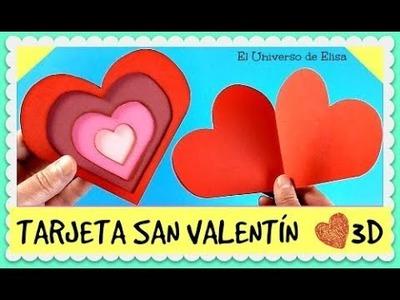 Tarjeta para el Día de San Valentín, Tarjeta para el Día de la Amistad, Tarjeta Corazón 3D