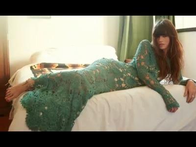 Vestidos con manga larga para dama tejido a crochet