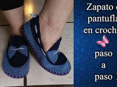 ZAPATOS O PANTUFLA en crochet PASO A PASO 1 de 2