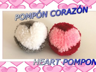 Aprende hacer POMPONES de LANA con DIBUJO de CORAZÓN. How to make WOOLEN POMPON with HEART DRAWING.