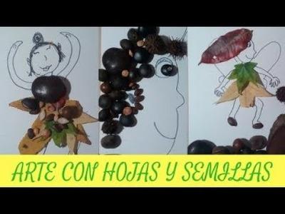 Arte-Naturaleza con hojas y semillas. Manualidades con reciclaje