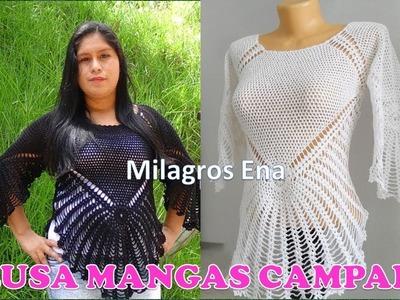 Blusa a crochet Mangas Campana con Indicaciones para TODAS LAS TALLAS