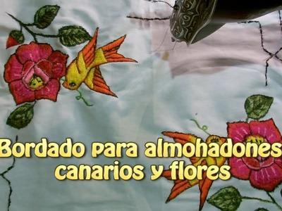 Bordado para almohadones canarios y flores  Creaciones y manualidades angeles