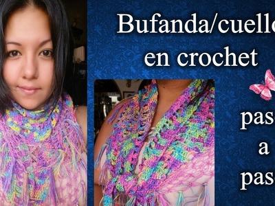 BUFANDA.CUELLO en crochet PASO A PASO 1 de 2