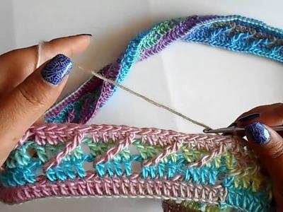 Bufanda infinita a crochet paso a paso facil y rapido. punto diagonal a crochet