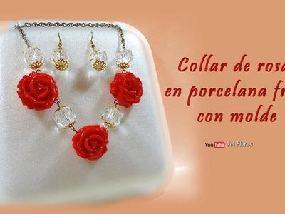 Collar de rosas en porcelana fría, con molde
