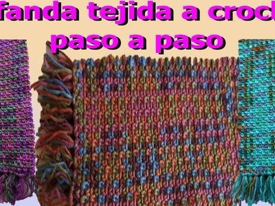 Como hacer Bufanda a crochet o ganchillo paso a paso. how to make crochet scarf - hobby time