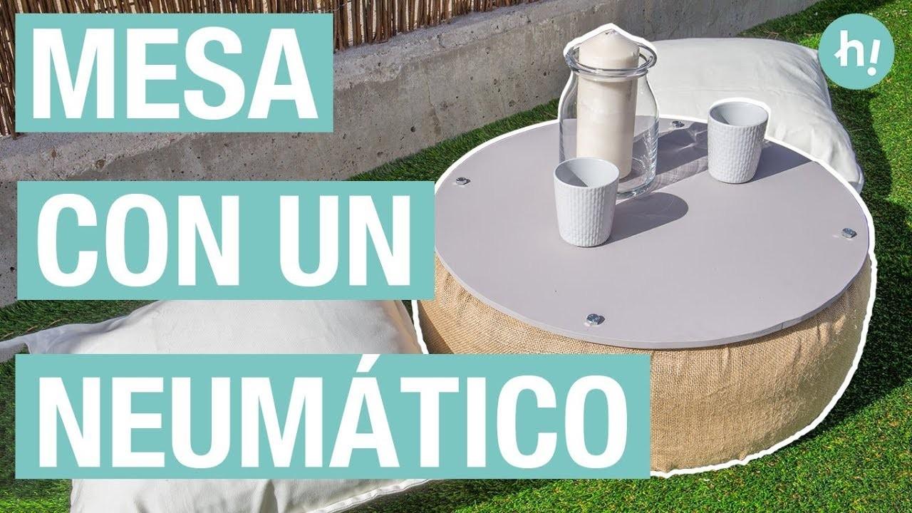 Cómo hacer una mesa con un neumático reciclado  · Handfie DIY