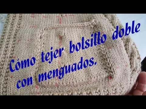 Cómo tejer bolsillo doble con menguados