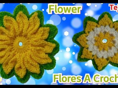 Crochet: Flores Tejidas Ganchillo - Manualidades La Manita Felíz