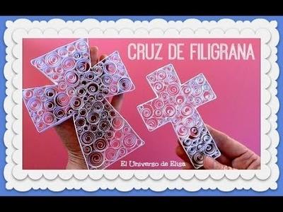 Cruz de de Filigrana de Papel, Recuerdo para Primera comunión y Bautizo