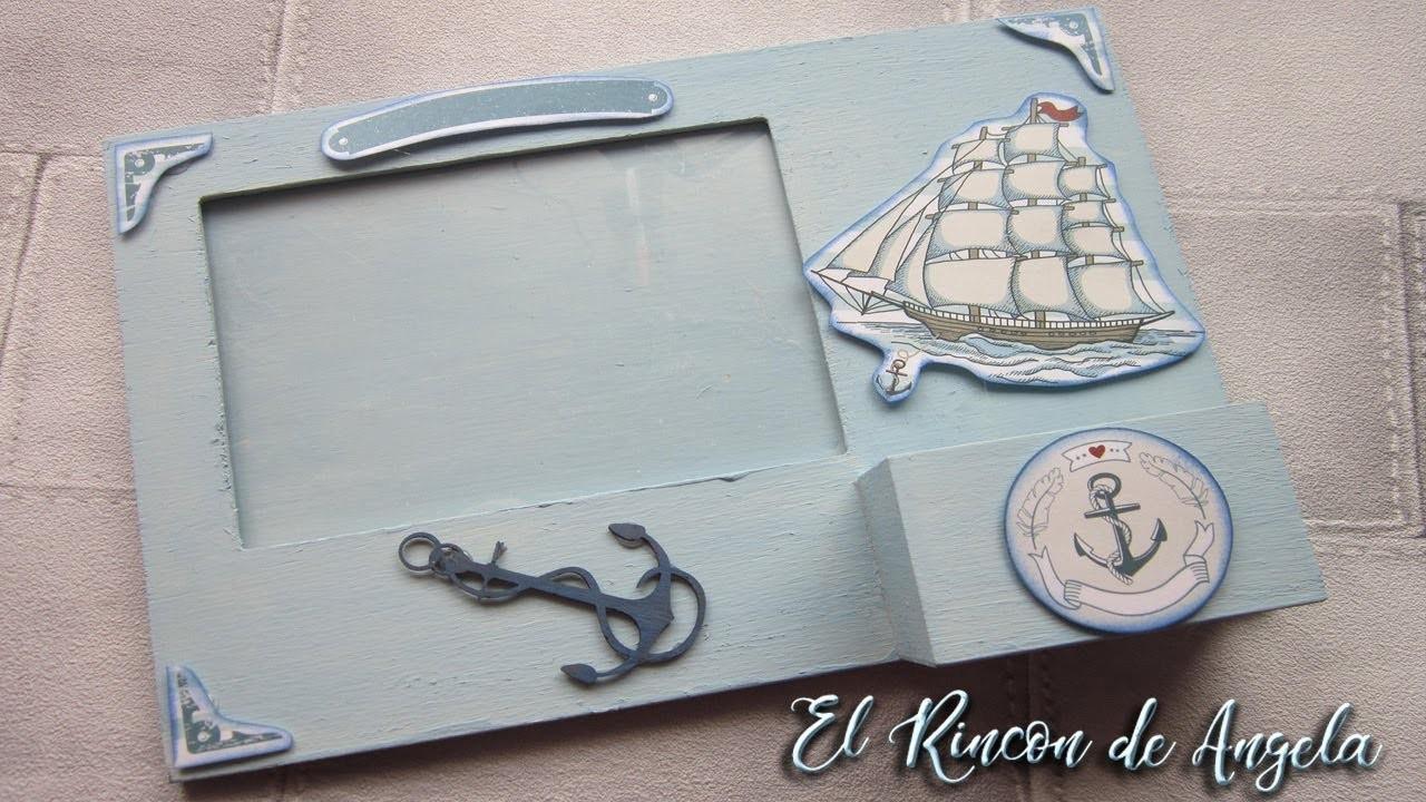Decorar un marco de fotos estilo marinero con chalk paint-Diy manualidades