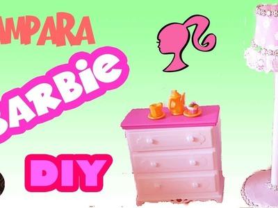 DIY | Como hacer lámpara para tus muñecas Barbie muy facil. Manualidades para muñecas Barbie