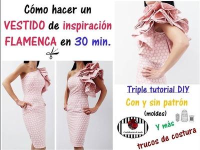 DIY. Cómo hacer un vestido de inspiración flamenca en 30 min. Easy dress tutorial