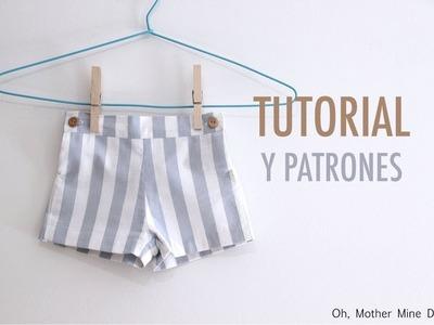 DIY Costura patalón corto para niños (patrones gratis)