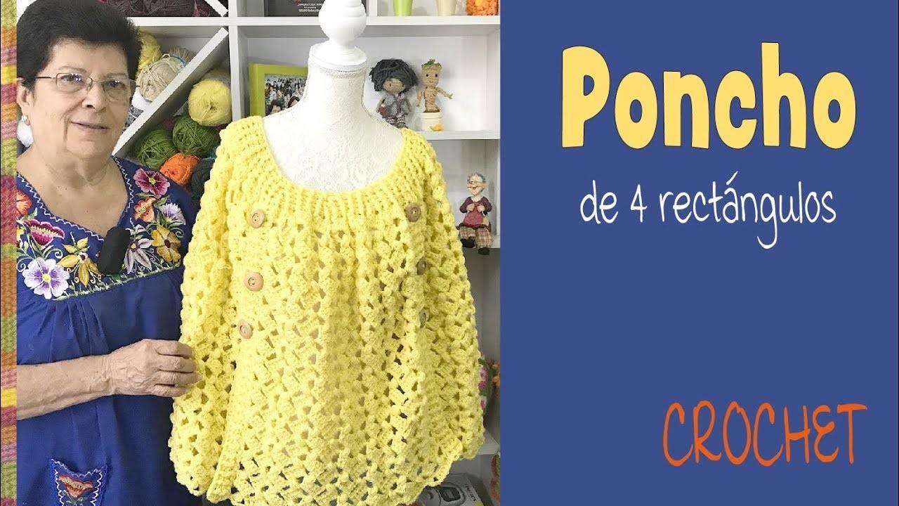 Poncho de 4 rectángulos tejido a crochet- Tejiendo Perú
