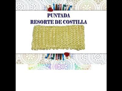 PUNTADA NUM. 1  RESORTE DE COSTILLA CON MEDIO PUNTO.