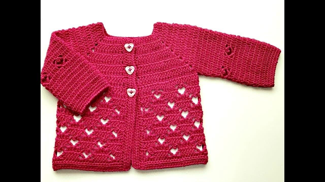 Saquito o chaqueta de bebe de 3 a 6 meses a CROCHET - La Magia del Crochet-PRIMERA PARTE