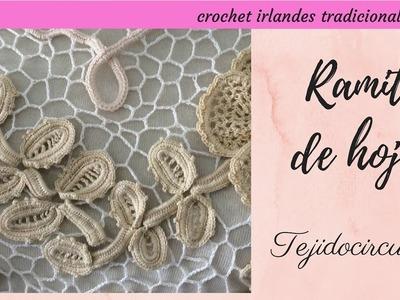 Tutorial crochet irlandés: ramito de hojas paso a paso. Tejidocirculos