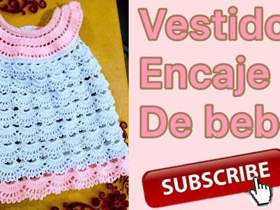 Vestido de encaje para bebé parte 1