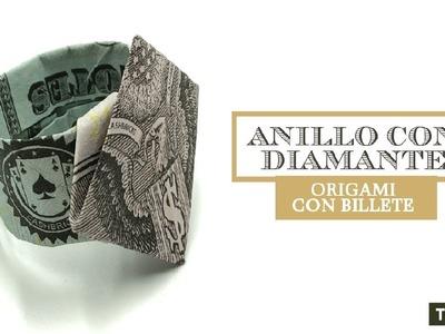 Anillo Con Diamante Origami Con Billete Ideal Para Regalar