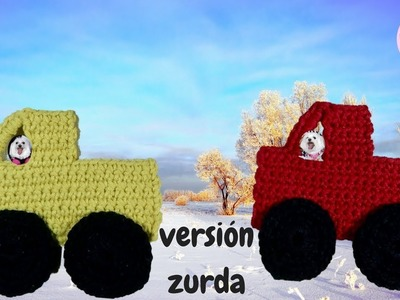 Aplique a crochet (camión) paso a paso  (versión zurda)