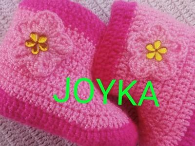 Botas para bebé de 0-3 Meses tejidas a crochet. 1° parte.
