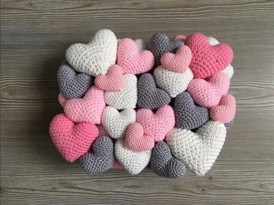Cojin de corazones a crochet