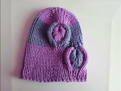 Como hacer Gorro para niños y adultos con agujas - tricot. punto tejido en 3D