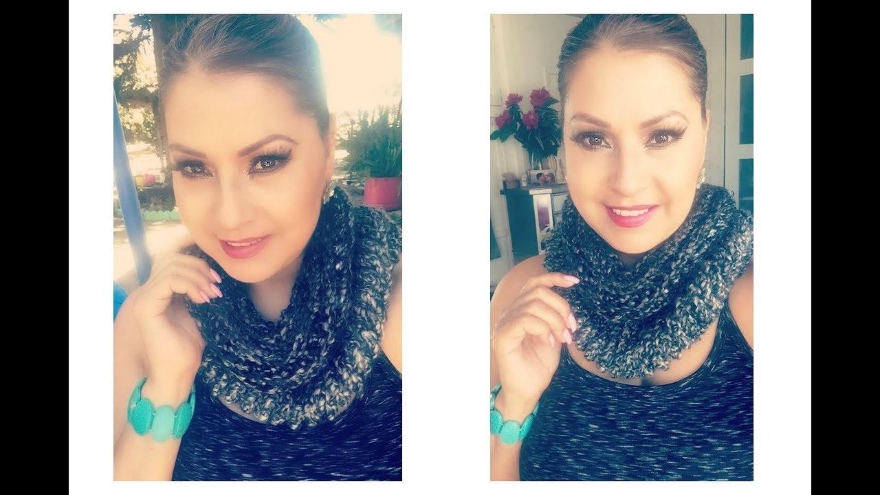 CROCHET: Bufanda Infinita o Circular.How To Crochet A Round Scarf ( Step By Step) Tutorial :)