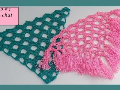 Crochet : Punto para Chal en V # 1