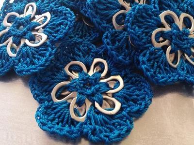 Flor tejida a Crochet con fichas